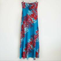 Lilly Pulitzer Jules Blue & Red Coral Strapless Maxi Dress Women's Xsmall Xs Euc Photo