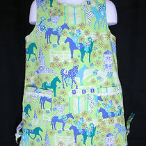 Lilly Pulitzer Kentucky Derby Shift Dress 6 Sock Monkeys Green Blue Low Riders Photo