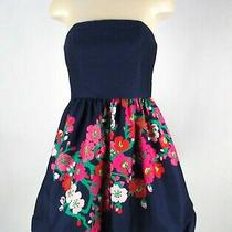 Lilly Pulitzer Lottie Mini Dress Xxs Xs Size 0 Dark Navy Blue Strapless Floral Photo