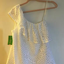 Lilly Pulitzer Matteo Top One Shoulder White Sea Urchin Terry Lace Size S- Nwt Photo