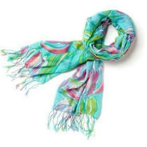 Lilly Pulitzer Murfee Scarf - Ring the Bellboy 118 Cashmere Silk-Free Shipping Photo