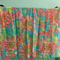 Lilly Pulitzer Murfee Scarf Sippin & Tippin Teal Cashmere Silk Guc Photo