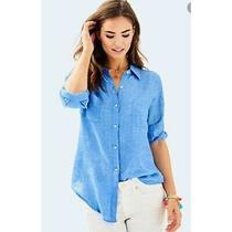 Lilly Pulitzer Nwt Sea View Button Down Top Bennet Blue 108 Size Xs Photo