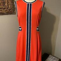 Lilly Pulitzer Orange Blue White Stretch Dress Large Photo