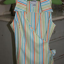 Lilly Pulitzer Palm Beach Logo Wrap Top Bright Colorful Stripes Sz 4 Euc Photo