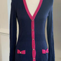 Lilly Pulitzer Pearl Hotty Pink True Navy Cardigan Sweater Size Medium Photo