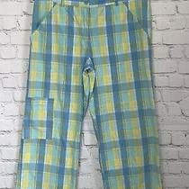 Lilly Pulitzer Plaid Crop Capri Yellow Blue Casual Womens Size 4 Pants Photo