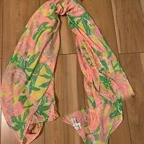 Lilly Pulitzer Scarf Pink Yellow Green Sequins Birds Photo