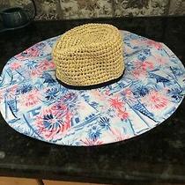 Lilly Pulitzer Sea to Shining Sea Crew Blue Straw Beach Hat Floppy Nwt Photo