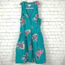 Lilly Pulitzer Sherlynn Dress Size 8 Tropez Blue Butterflies Fit Flare a Line  Photo