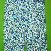 Lilly Pulitzer Signature Blue Green Daisy Print Pants 6 Photo