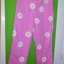 Lilly Pulitzer Signature Pink Striped Daisy Print Cropped Capri Pants 6 Photo
