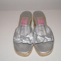 Lilly Pulitzer Silver Open Toe Bow on Front Wedges B 1124 Photo