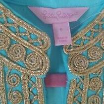 Lilly Pulitzer Size 6 Blue and Gold Dress Womens Photo