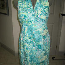 Lilly Pulitzer Sz 6 Button Down Dress Aqua Animal Print Zebra Lion Cheetah Photo