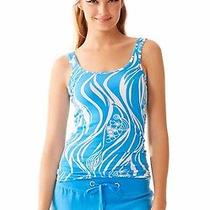 Lilly Pulitzer Tabbie Tank Top Ariel Blue Joe Fish Size Medium Nwt Lk Sealed Photo
