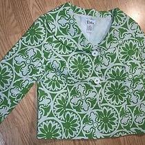 Lilly Pulitzer White Label Jacket Blazer Coat Size 6 Green Floral Vintage Photo