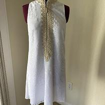 Lilly Pulitzer - White Shift Dress - Size 2 Gorgeous Gold Knotted Detail Euc Photo