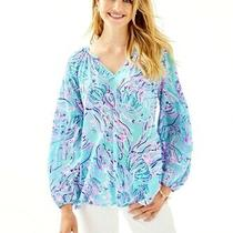 Lilly Pulitzer Winsley Long Sleeve Top Bayside Blue Under the Moon Size Xs/nwt Photo