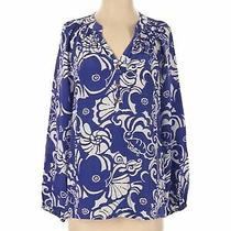 Lilly Pulitzer Women Blue Long Sleeve Silk Top S Photo