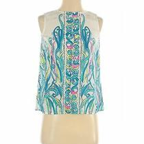 Lilly Pulitzer Women Blue Sleeveless Silk Top Xs Photo