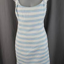 Lilly Pulitzer Women's Blue White Metallic Gold Striped Sleeveless Dress Size 14 Photo