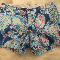 Lilly Pulitzer Womens Callahan Shorts Sz 4 Blue Pink Flowers 5 Inseam Photo