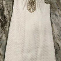 Lilly Pulitzer Womens White & Gold Embroidery Beaded Lined Shift Dress Size 0 Photo