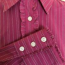 Lilly Pulitzer Womens Size 6 Pink White Button Pinstriped Ruffle Dress Shirt Top Photo