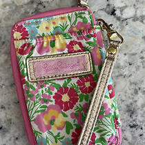 Lilly Pulitzer Wristlet Carded Id Gold Handle Pink Floral 6
