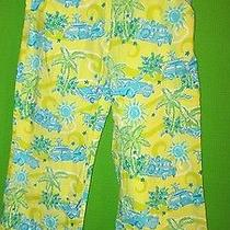 Lilly Pulitzer Yellow Green Blue Car Printed Crop Pants Capris Sz 2 Photo