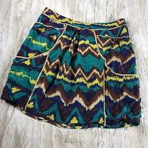 Lilu for Anthropologie Teal Multi Color Print Silk Skirt Size Small Side Pocket  Photo