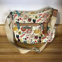 Lily Bloom Cat Purse Tan With Kitty/floral Print Adorable Unused Crossbody Photo