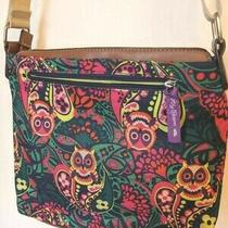 Lily Bloom  Crossbody Lined Bag Purse Multicolor Owl Paisly Adjustable Straps Photo