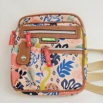 Lily Bloom Crossbody Purse Pink Tropical Flamingo Pineapple 4 Pockets Travel Photo