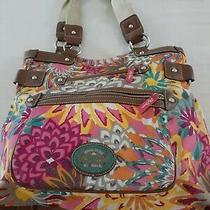 Lily Bloom Handbag Tote Purse Floral Outside Pockets 3 Sections Photo