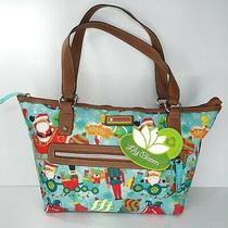Lily Bloom Karma Bloom Santa Blue Everyday Tote Purse Bag Christmas North Pole Photo