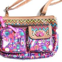 Lily Bloom Long Strap Hobo Purse Crossbody Bag Pink Purple Floral Abstract Print Photo
