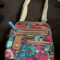 Lily Bloom Purse Cross-Body Messenger Colorful Floral W/ Magenta Lining Photo