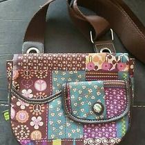 Lily Bloom Purse Small Flap Messenger Cross-Body Colorful Brown & Purple Print Photo