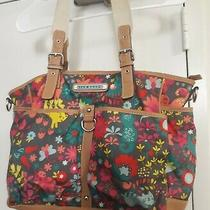 Lily Bloom Vinyl Trim Cats and Flowers Large Purse Messenger Bag Tote Deep Wide Photo