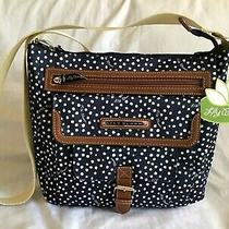 Lily Bloom Women's Phoebe Mid Crossbody Purse Handbag Dancing Dots Navy Nwt Photo
