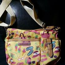Lily Bloom Yellow Bright Beach Canvas Handbag Purse - Large (Adjustable Strap) Photo