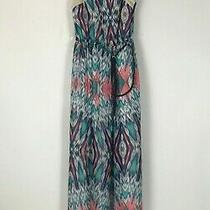 Lily Rose in Bloom Womens Multi Color Crochet Yolk Belt Dress Maxi Size S   Photo