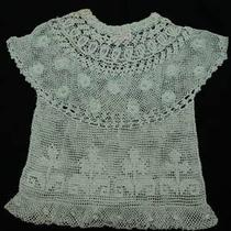 Lim's Fine and Delicate 100% Hand Crochet  Top Aqua M Photo
