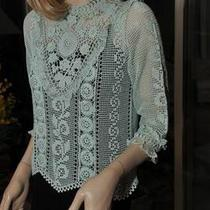 Lim's Gorgeous Intricate Cotton Hand Crochet Top L Aqua Photo