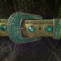Lime Metallic Green Rhinestone Studded Belt Sz Xl Fancy Buckle and Tab Photo