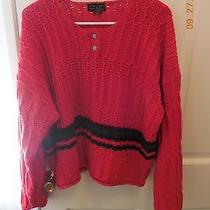 Limited Beautiful Red Sweater Size Large W/black/green Stripe Through Photo