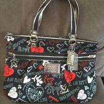Limited Edition Coach Poppy Graffiti Hearts Glam Xl Shoulder Bag Red/black 16052 Photo