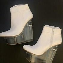 Limited Edition Jeffrey Campbell Icy White Leather/clear Platform Booties Sz 11 Photo